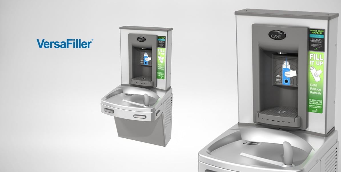 VersaFiller water dispensers for refilling reusable water bottles and drinking water