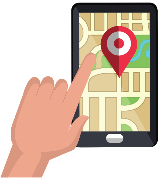 cartoon of mobile phone with map application open on it