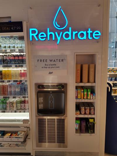 free water refilling station inside a Boots convenience store located in Dublin, Ireland
